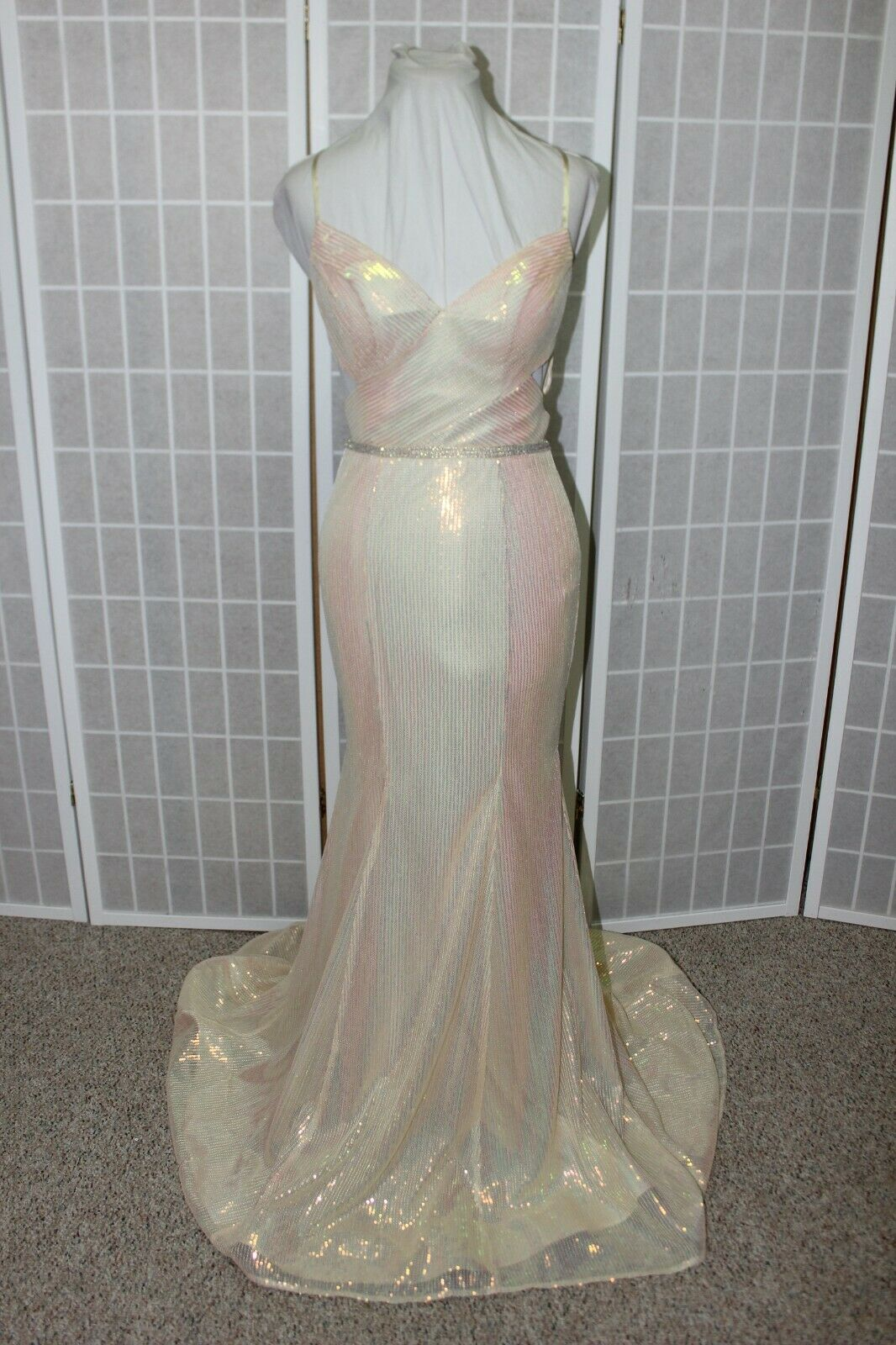 NWT Madison James 20-345 champagne micro sequins Size 6 long formal gown