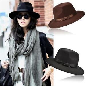 59d43722724 Wool Felt Vintage Women Men Floppy Panama Cap Wide Brim Trilby Hat ...