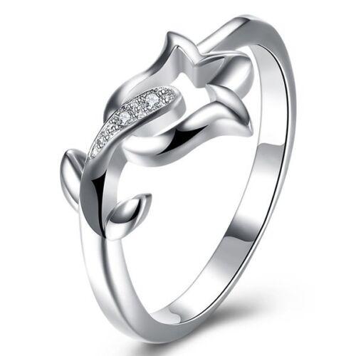 Anillo de diseño 925 plata señora anillo Anillo de compromiso flor rosa pedrería talla 18 nuevo