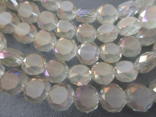 Chinese Crystal Faceted //Matte Coin Beads 29pcs Light Yellow AB