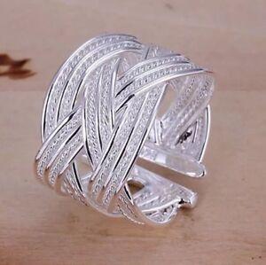 Silberring-Schlicht-Mehrreihig-Vintage-Breit-Ring-Silber-925-Verstellbar-Neu