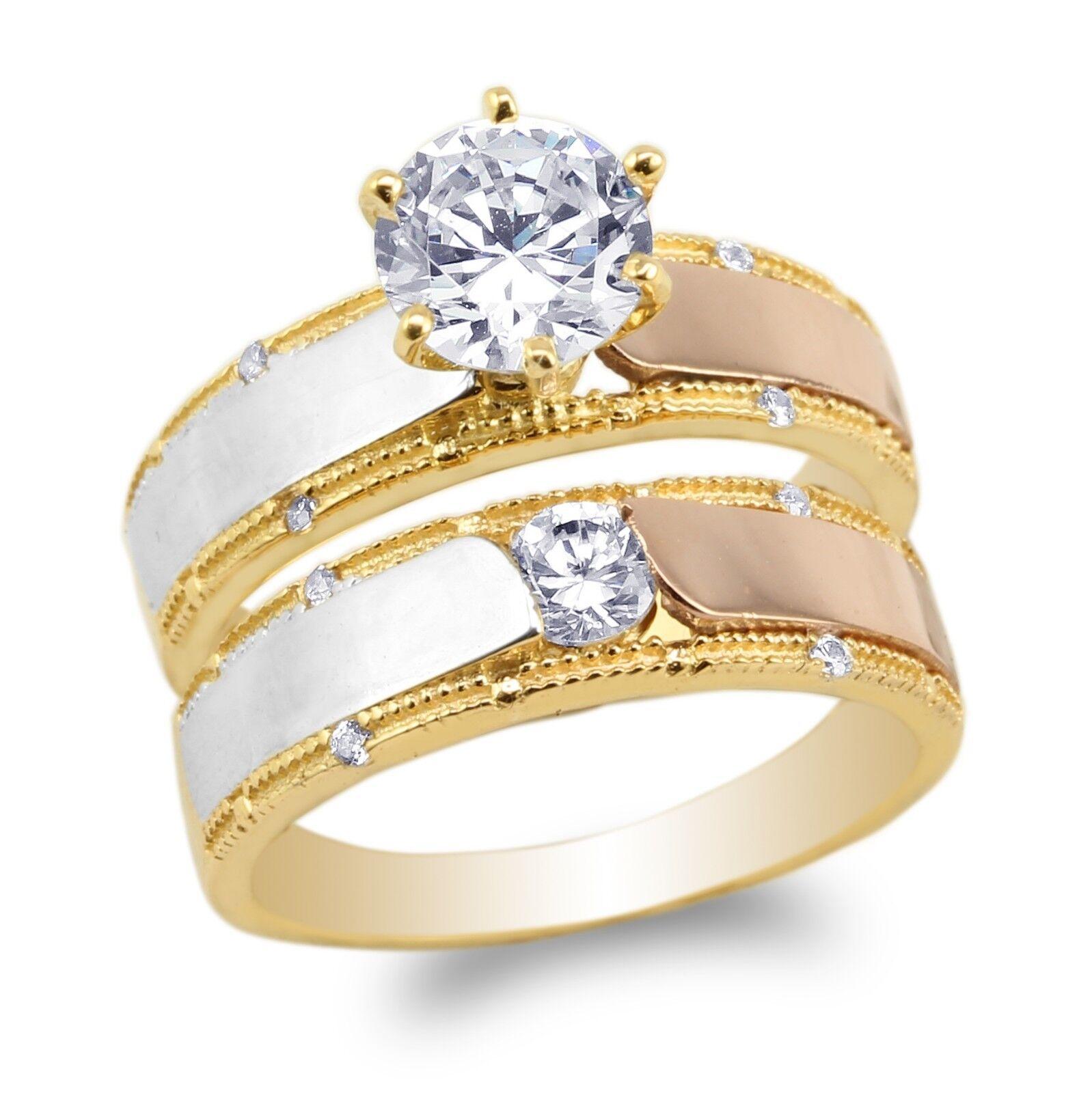 JamesJenny 10K 14K Yellow gold pink  Duo Set Round CZ Engagement  Ring Size 5-10