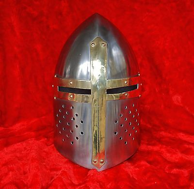 Medieval Knights Armor Crusader Templar Sugarloaf Helmet with Masons Brass Cross