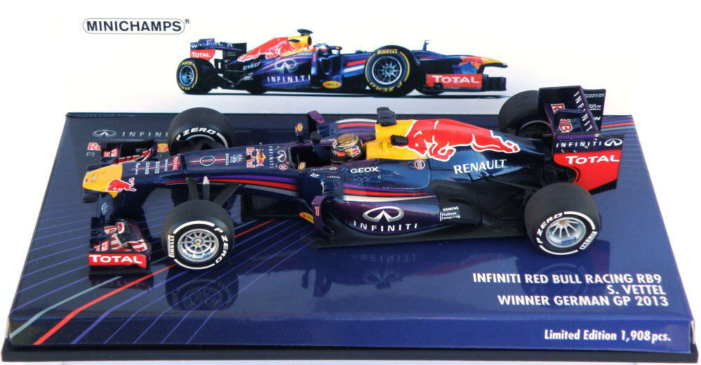 Minichamps rosso Bull Rb9 ganador Alemán Gp 2013-Sebastian Vettel 1 43 Escala