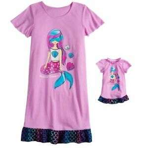 8c4f4c34a1 Girl 4-14 and Doll Matching Mermaid Nightgown Clothes ft American ...