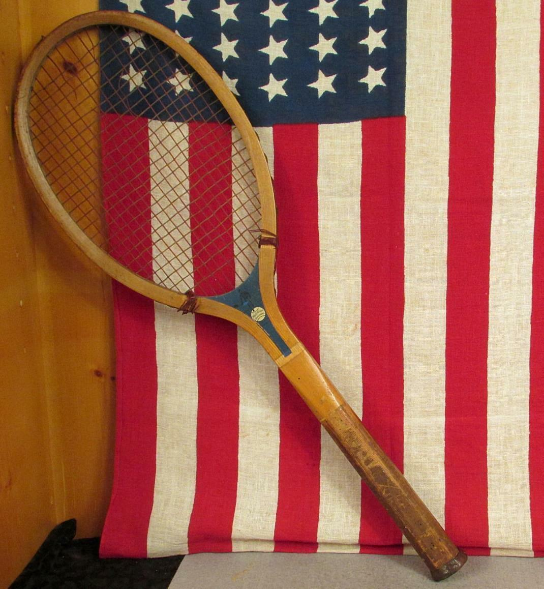 Vintage 1920s Wright & Ditson Wood Tennis Racquet Challenger Antique Display