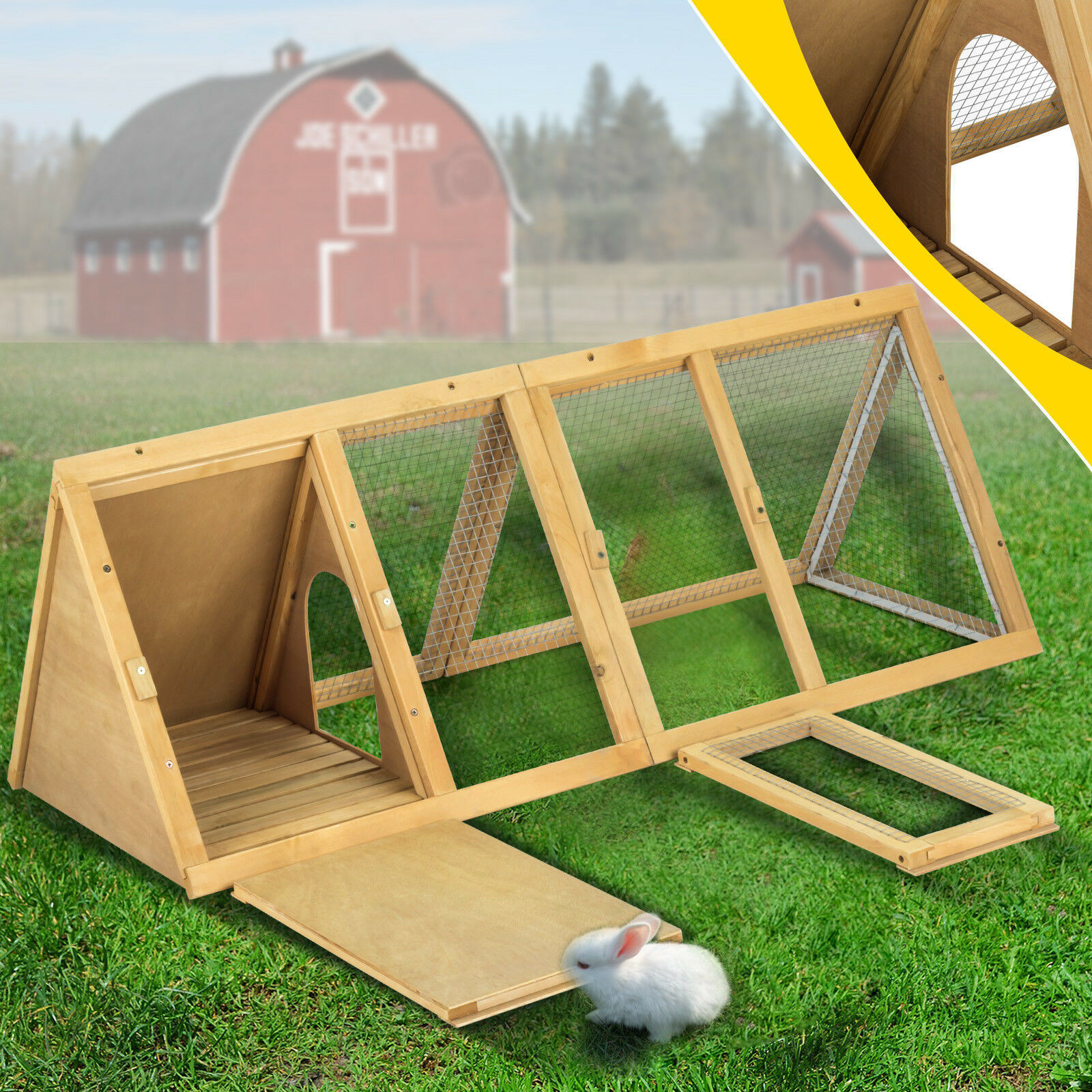 Wooden Rabbit Coop A-Frame Hutch Cage Small Animal Pet House Run Outdoor