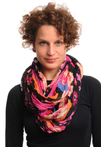 Large Red and Pink and Beige Flowers On Black Snood Scarf SF000645