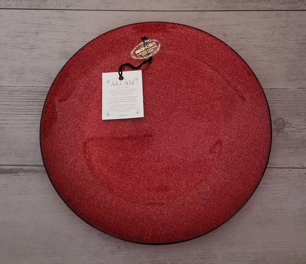 (4) AKCAM TURKISH GLASS GLITTERY ELEGANT RED SIDE PLATES VALENTINE'S HOME DECOR