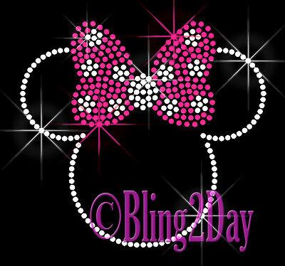 "Minnie Mouse Polka Dot Bows 5.5"" X 5"" Rhinestone Iron on Transfer Hot Fix Bling"