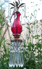 Vintage SWAG plugin glass ruby Brass mini baby hanging lamp chandelier crystal