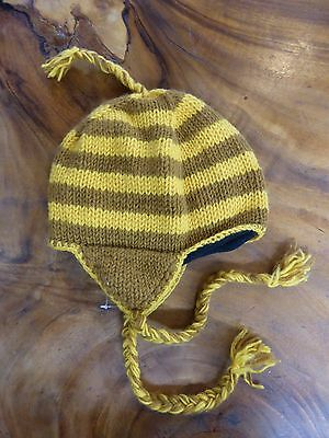 Hand Knitted Nepalese Winter Beanie Ear Flaps Fully Lined Snow Cold Stripes