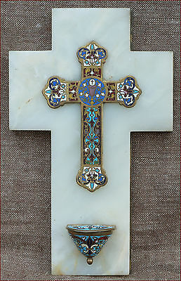 Large Holy Water Font Enameled Champleve Bronze 1880