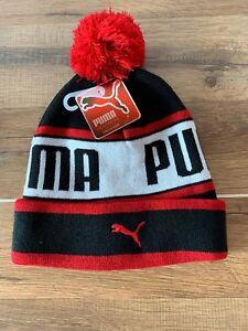 9010967bba5 Image is loading NWT-PUMA-YOUTH-BLACK-RED-POM-BEANIE-HAT-