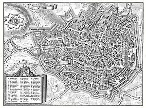 MAP ANTIQUE MERIAN 1650 ERFURT CITY PLAN OLD LARGE REPLICA POSTER PRINT PAM1083