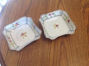 """Antique Imperial Nippon Square Bowls, pair, hand painted flowers, 6"""""""