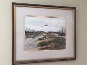 RARE-ORIG-VTG-LISTED-AL-BARKER-WATERFOWL-DUCK-HUNTING-MARSH-WATERCOLOR-PAINTING