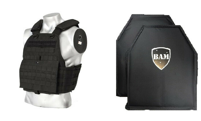 Level IIIA 3A   Body Armor Inserts   Bullet Proof Vest   BAM Quad Vest -BLK