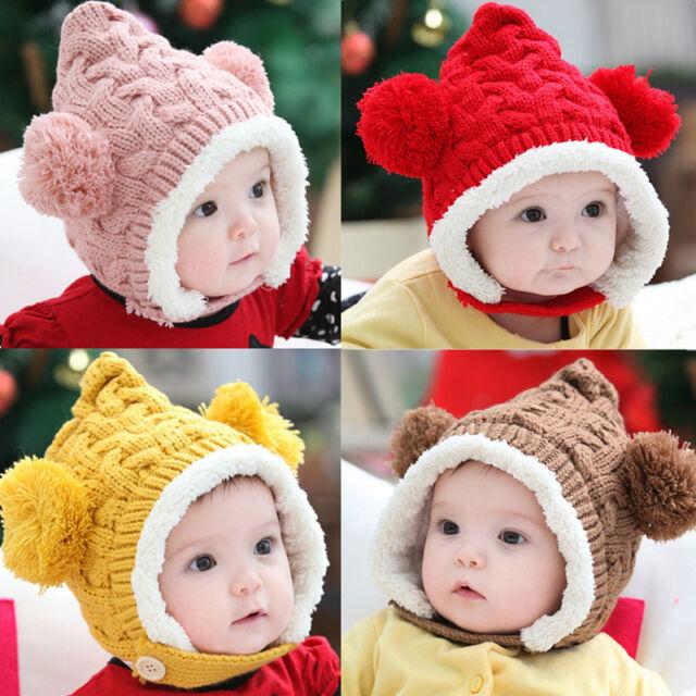 Lovely Winter Warm Kid Baby Girl Boy Dual Balls Ear Wool Knit Beanie Cap Hat