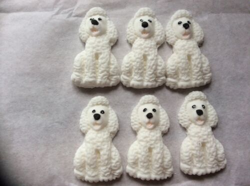 Edible sugar paste poodle dogs cup cake toppers 61224