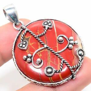 "Red River Jasper Handmade Ethnic Style Jewelry Pendant 1.97 "" SS-523"