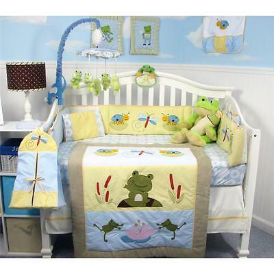SoHo Leap Froggies Baby Crib Bedding 13 pcs Set included Diaper Bag