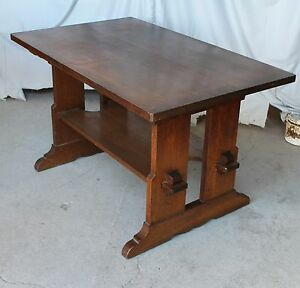 Captivating Image Is Loading Antique Mission Oak Trestle Table Key Tendons Stickley