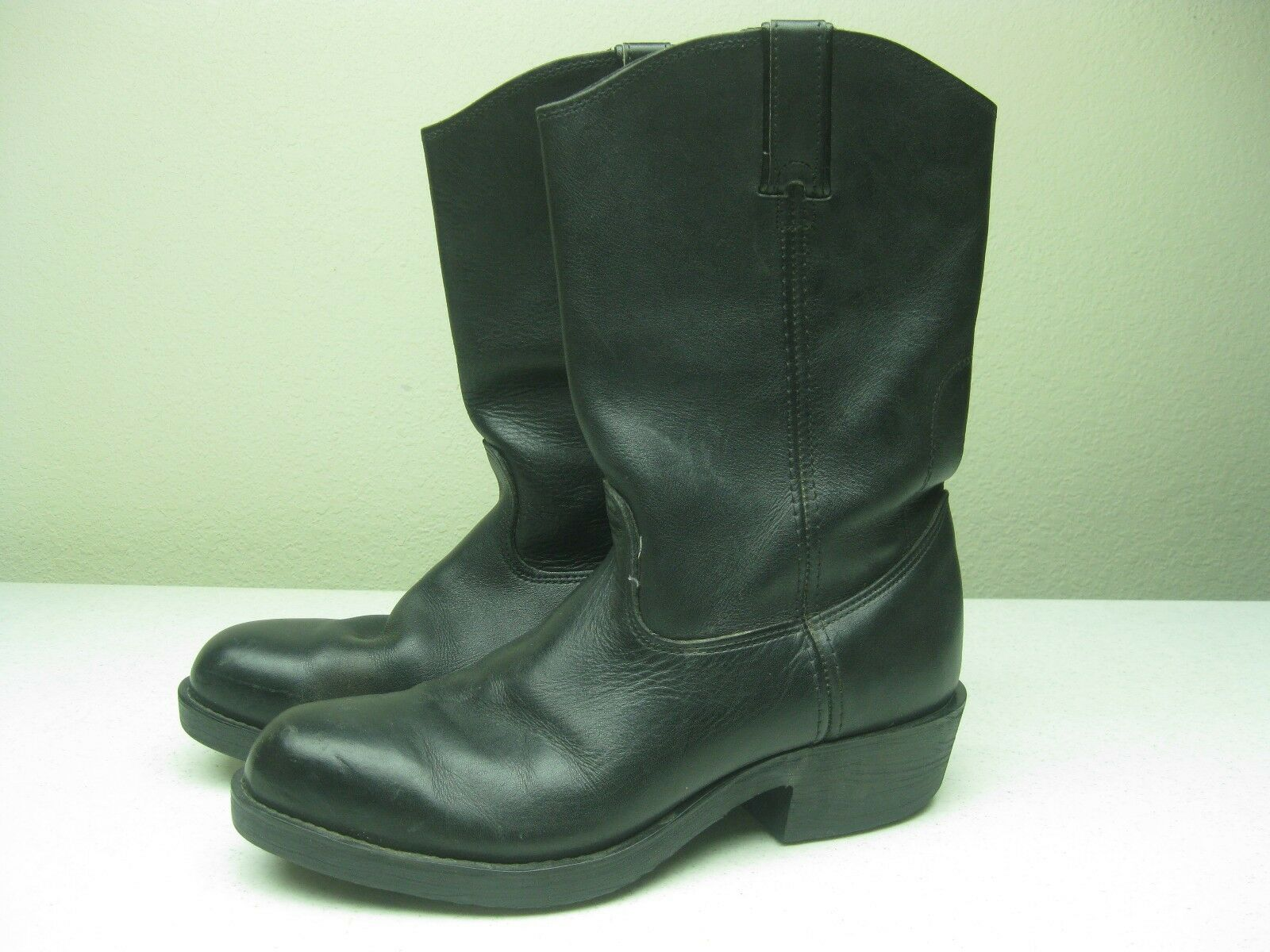 VINTAGE BLACK LEHIGH STEEL TOE MOTORCYCLE LEATHER WORK ENGINEER BIKER BOOTS 9W