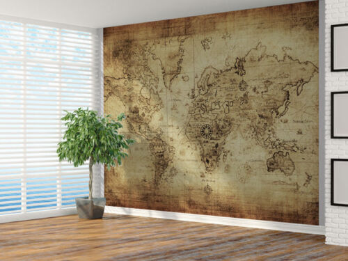 Vintage distressed World Map photo Wallpaper wall mural Map 4302066