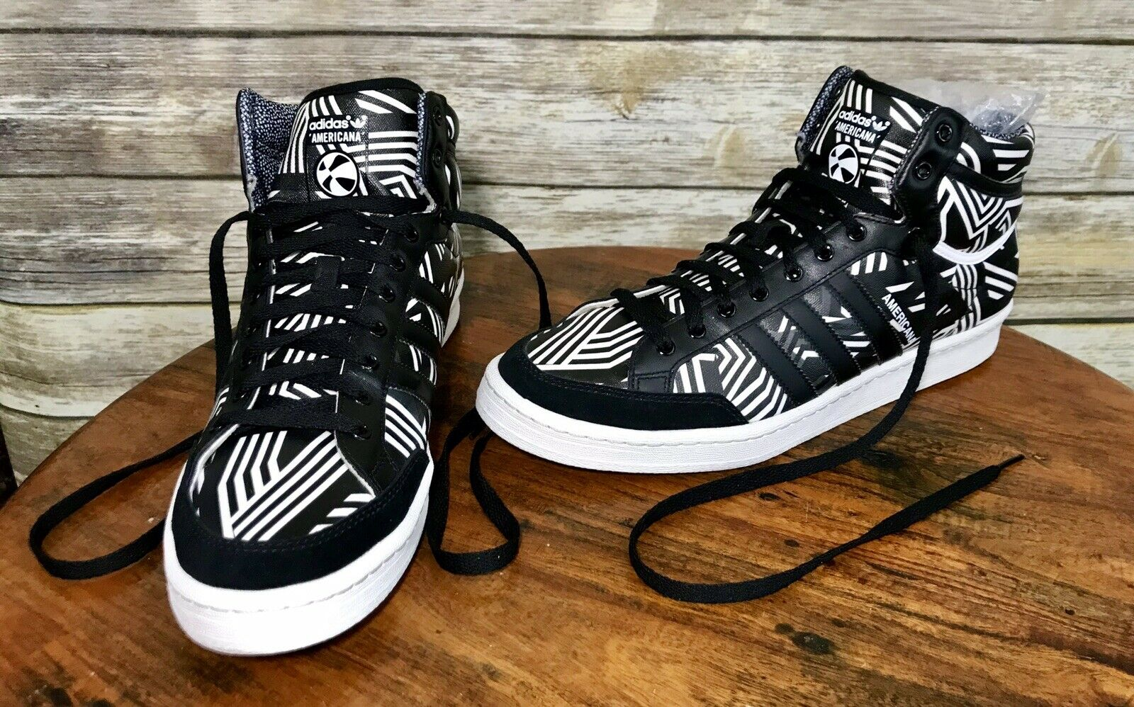 Adidas Originals Americana Hi 88 Sz 12 High Top Sneakers Black White RARE D65683