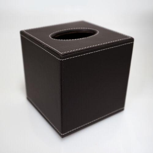 Kosmetiktuchbox Taschentuchbox PU-Leder dunkelbraun genarbt Tissuebox