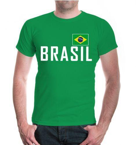 Herren Unisex Kurzarm T-Shirt BRASIL Brazil Fanshirt Trikot Flagge flag