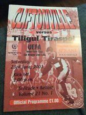 Cliftonville v Tiligul Tiraspol 2001/02 Inter-Toto Cup Programme