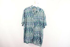 Vintage-90s-Mens-Medium-Fresh-Prince-Abstract-Geometric-Silk-Short-Sleeve-Shirt