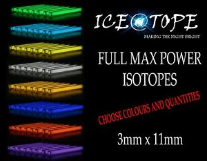 Iceatope-3-mm-x-11-mm-Isotopes-GTLS-flacons-trigalight-BETALIGHT-Betalights-Carp