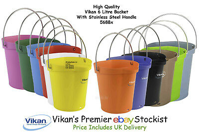 Vikan High Quality 6 Litre Bucket Other Home Cleaning Supplies Pail With Stainless Steel Handle 56881-9 Street Price