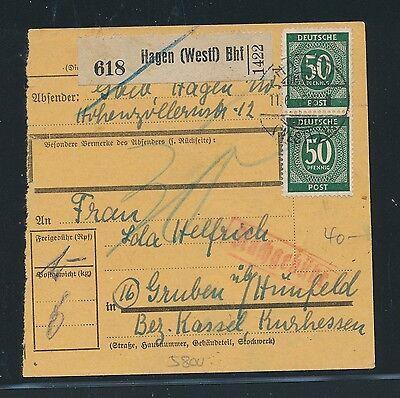 03380 Bhf Mef 2x 50pf Ziffer Ab Paketkarte Hagen westf