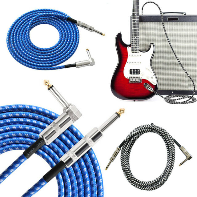 Instrument Guitar Lead 10m Meter Long Gig Cable Jack Right Angle Bass Electric