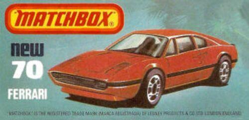 Matchbox Superfast No 70 FERRARI 308 GTB Empty Box Repro style J
