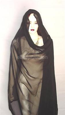 NEW Black  Belly Dance Veil Scarf Gypsy Tribal Hijab Fabric Chiffon Costume Club
