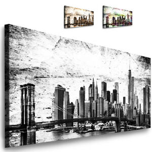 bild new york leinwand bilder xxl wandbild ny panorama skyline kunstdrucke ebay. Black Bedroom Furniture Sets. Home Design Ideas