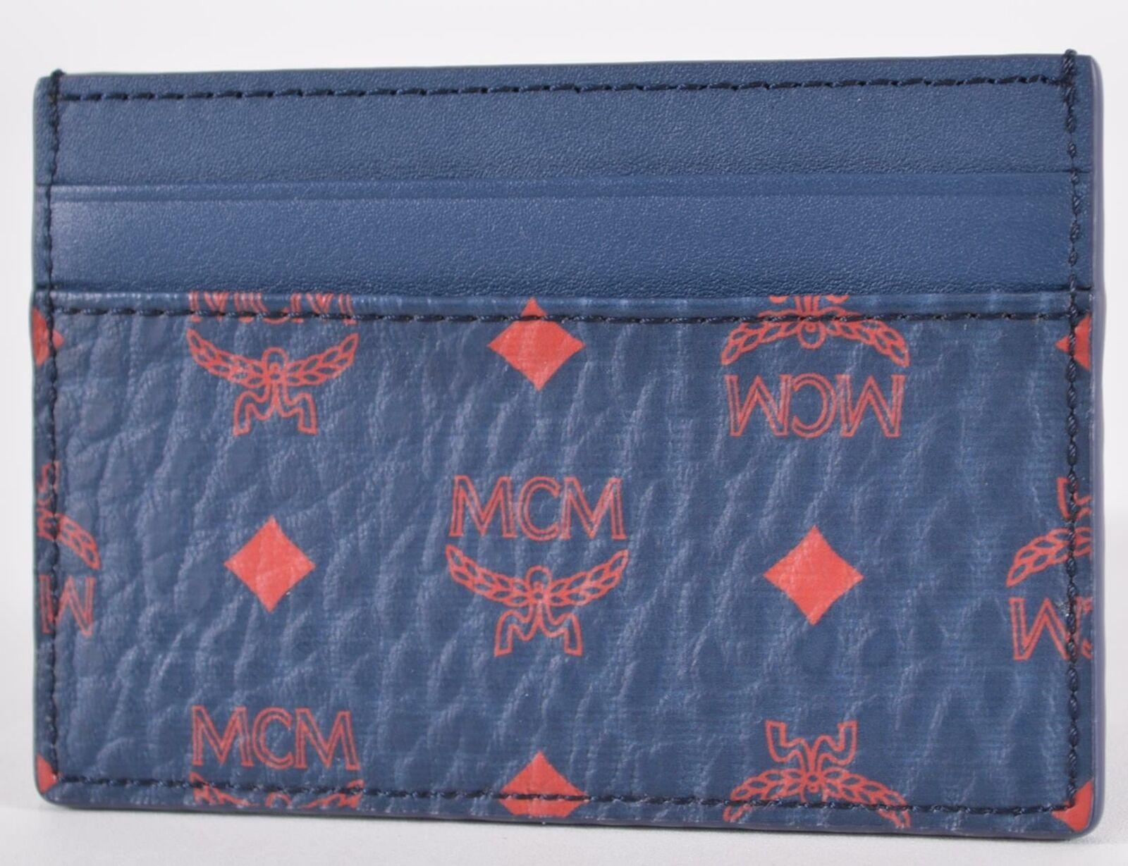 New MCM Deep Blue Sea Visetos Canvas Mini Card Case Wallet