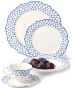 Image is loading Godinger-Bristol-Blue-Scalloped-Bone-China-40-piece-  sc 1 st  eBay & Godinger Bristol Blue Scalloped Bone China 40-piece Dinnerware Set ...
