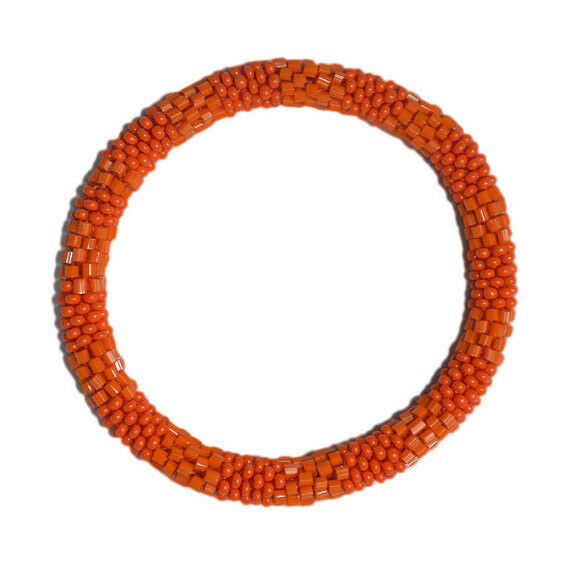Textured Orange Beaded Bracelet,Just roll on your wrist,Nepal