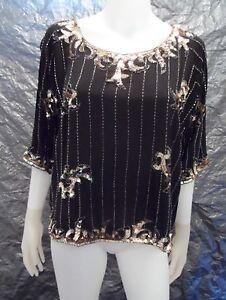 Women-039-s-Vintage-1980-039-s-Black-amp-Gold-Silk-Sequin-Blouse-Size-M-Pre-Owned
