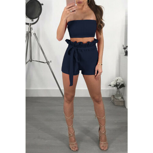Women 2 Piece Off the Shoulder  Crop Top and Shorts Set Bandage Pants Party A2L1