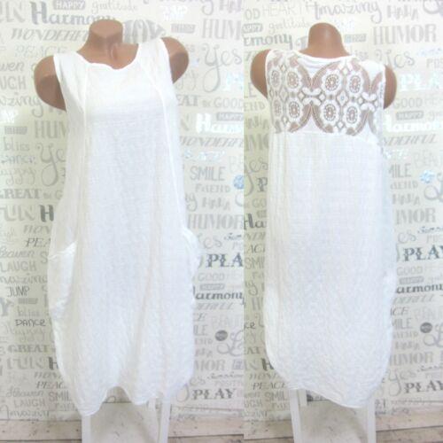 Sommerkleid Hängerchen Tunika Kleid LEINEN-Optik Häkel Spitze 38 40 42 Weiß E612