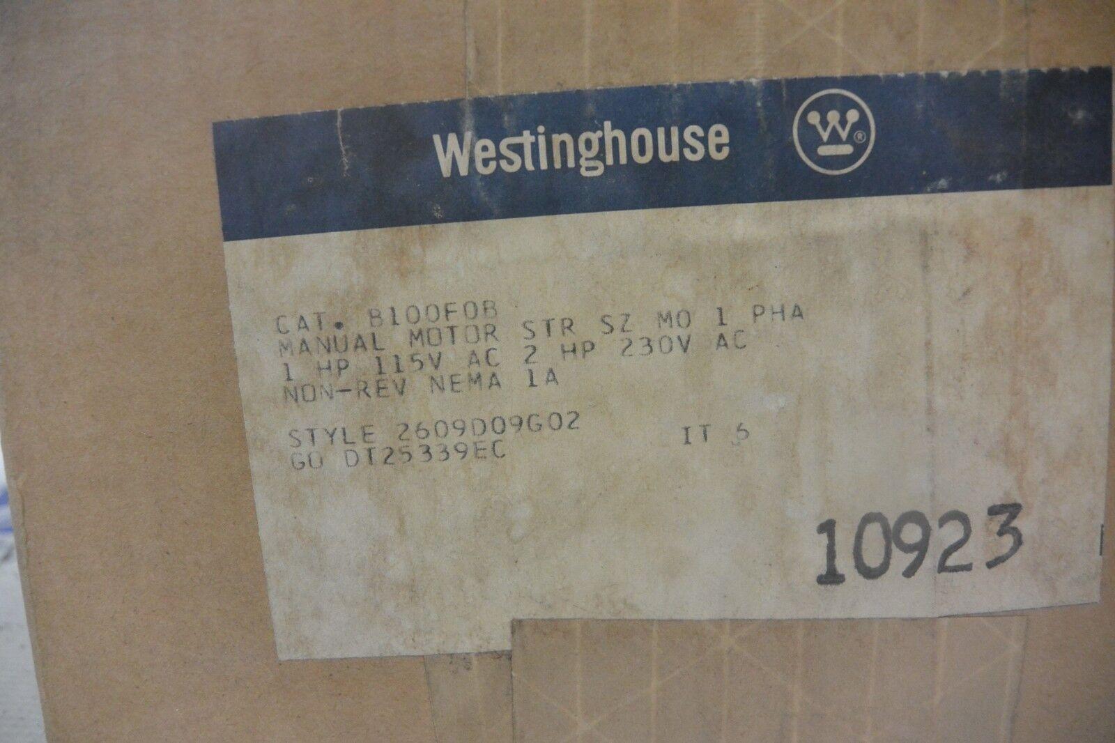 Nuevo Manual Motor De Arranque Westinghouse B100F0B M01 2HP 230V 230V 230V 2609D09G02 4328b9