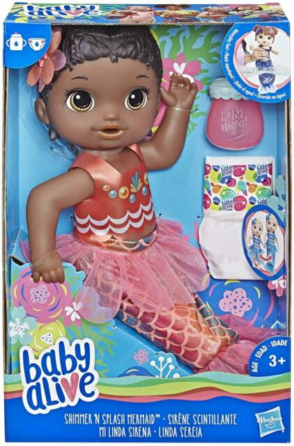 New Hasbro Baby Alive Shimmer N Splash Mermaid Doll with Accessories Black Hair