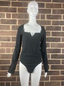 NTW-FREE-PEOPLE-Women-s-Black-Notched-Neckline-Long-sleeve-Bodysuit-Size-L